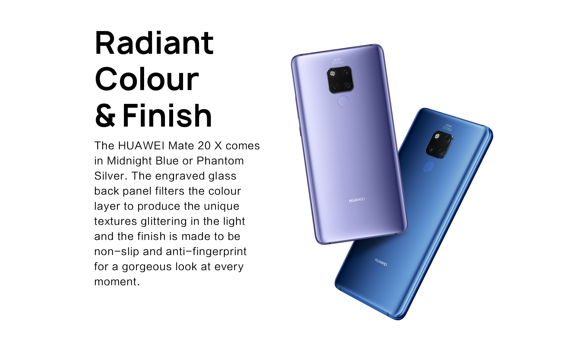 Huawei Mate 20X colors Midnight Blue, Phantom Silver
